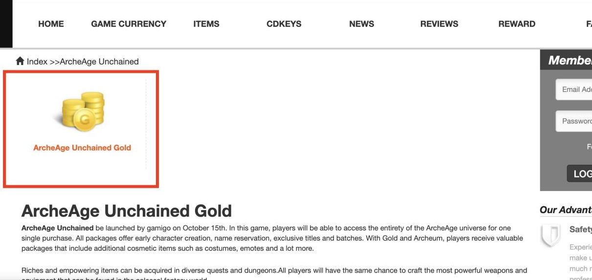 buy archeage unchained gold step2